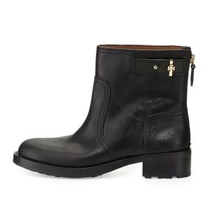 NEW 7 Tory Burch Selena Black Leather Shimmer Boot